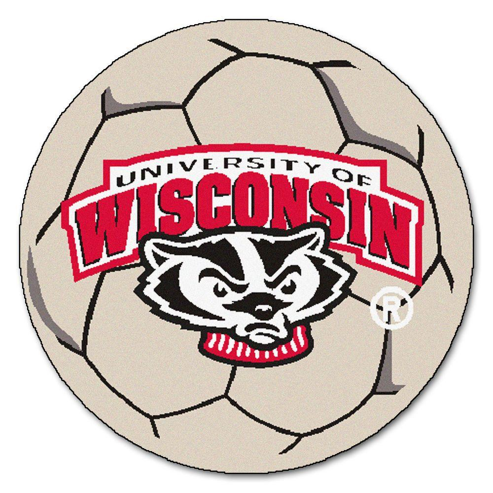 Ncaa University of Wisconsin Badger Logo Cream (Ivory) 2 ft. 3 in. x 2 ft. 3 in. Round Accent Rug