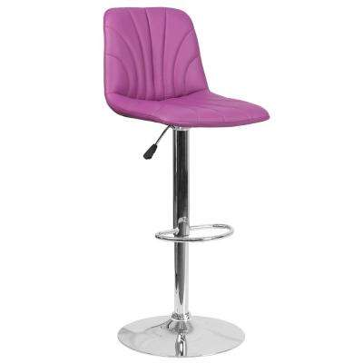 33.25 in. Adjustable Height Purple Cushioned Bar Stool