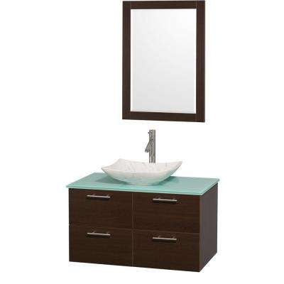 Amare 36 in. Vanity in Espresso with Glass Vanity Top in Green, Marble Sink and 24 in. Mirror