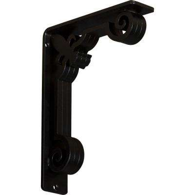 2 in. x 10 in. x 7-1/2 in. Wrought Iron Triple Center Brace Fleur-De-Lis Bracket