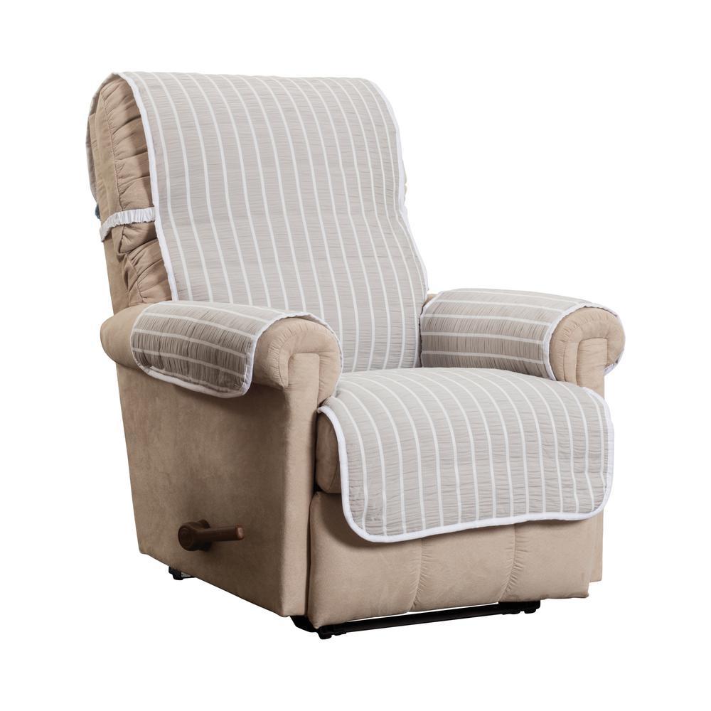 Harper Striped Recliner Natural Furniture Cover Slipcover