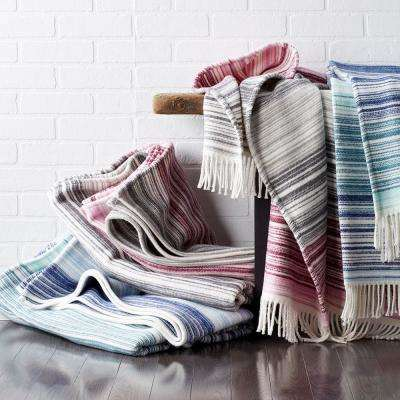 Domino Striped Blue Cotton King Blanket