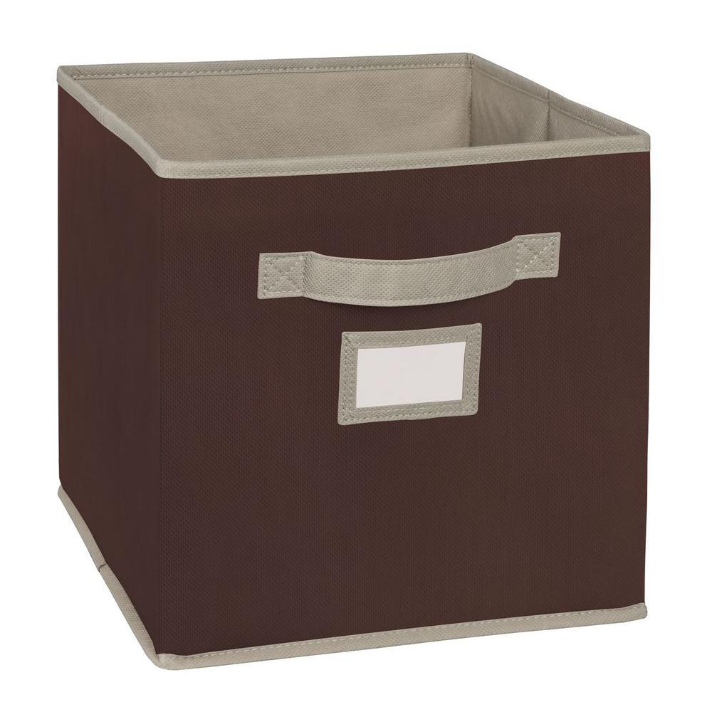 11 in. D x 11 in. H x 11 in. W Brown Fabric Cube Storage Bin