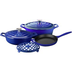 Click here to buy La Cuisine 6-Piece Enameled Cast Iron Cookware Set with Saute, Skillet and Oval Casserole with Trivet in High Gloss Sapphire by La Cuisine.