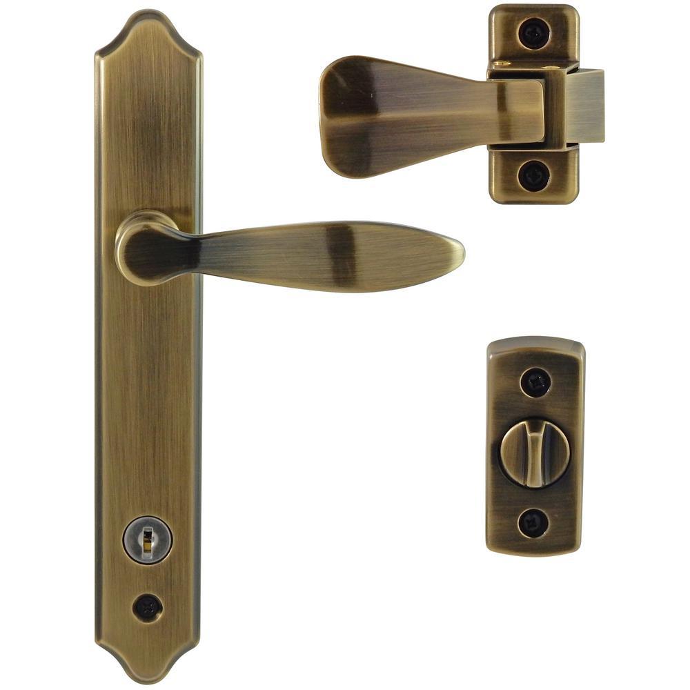 Ideal Security Deluxe Antique Brass Storm Door Handle Set