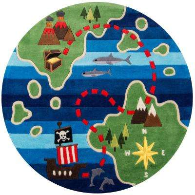 Lil Mo Whimsy Pirate Multi 5 ft. x 5 ft. Indoor Kids Round Area Rug