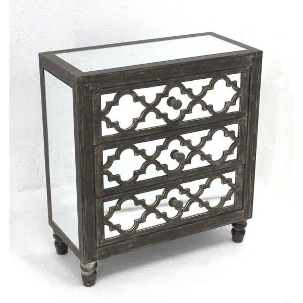 Grey Wood Mirror 3-Drawer Storage Cabinet AF-080