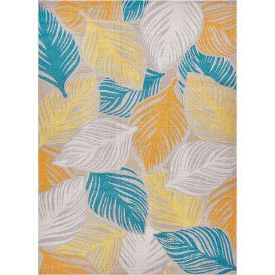 Firenze Amelia Sunshine 5 ft. x 7 ft. Modern Abstract Tropical Leaves Thin Area Rug