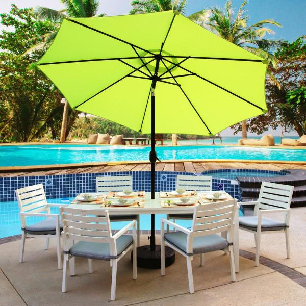 Maypex 9 Ft Steel Crank And Tilt Market Patio Umbrella In Lime Green 300002 G The Home Depot