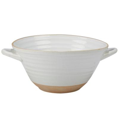 Artisan Multi-Colored 13.5 in. x 10.75 in. 5.25 in. Deep Bowl with Handles