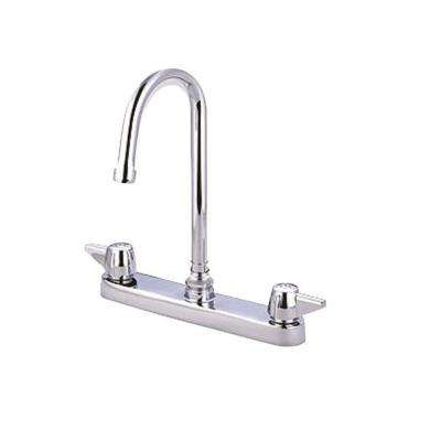 2-Handle Cast Brass Kitchen Faucet in Polished Chrome