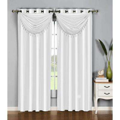 Semi-Opaque Jane Faux Silk 84 in. L Grommet Curtain Panel Pair, White (Set of 2)