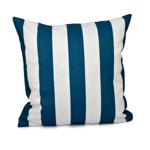 16 inch x 16 inch Classic stripes decorative Pillow in Moroccan Blue by