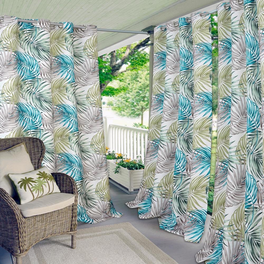 Tahiti Green/Blue Indoor/Outdoor Grommet Window Curtain - 50 in. W x 84 in. L