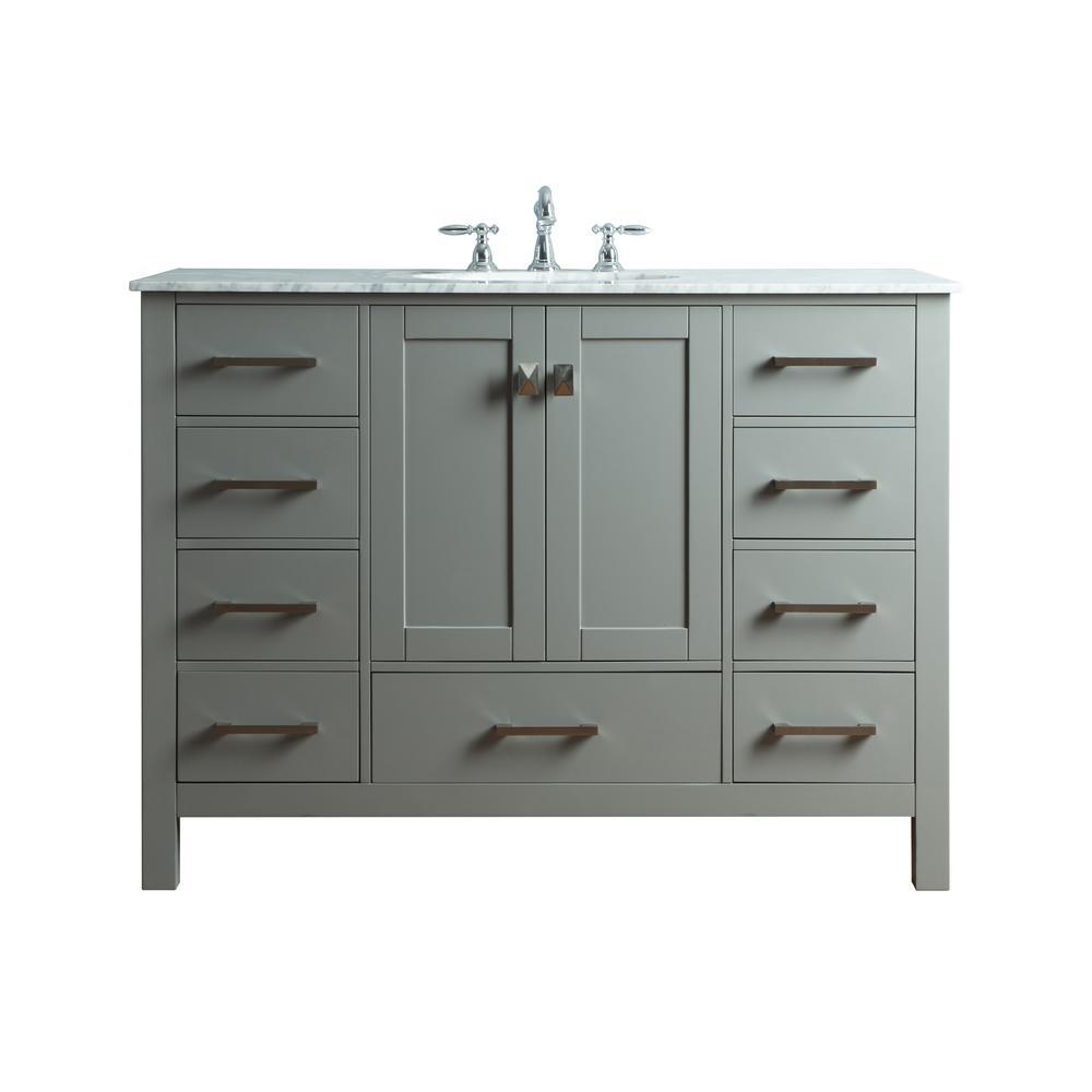 Malibu 48 in. Vanity in Gray with Marble Vanity Top in Cararra White