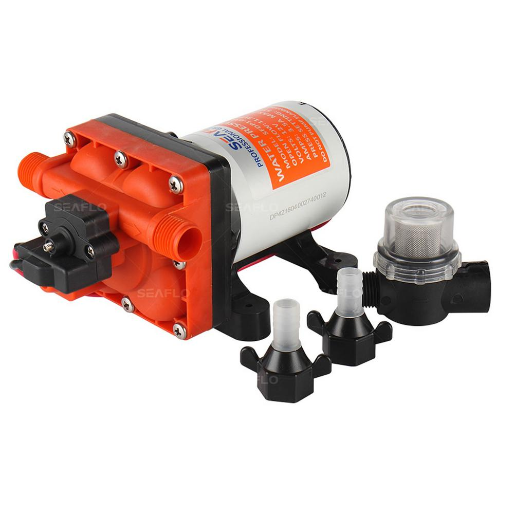 Seaflo 12 Volt 3 0 Gpm 0 064 Hp Variable Flow Water Pressure Diaphragm Pump Sfdp1 030 055 42 The Home Depot