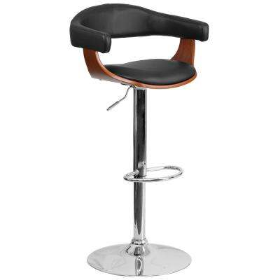 Walnut Bentwood Adjustable Height Barstool with Upholstered Wrap Style Arms and Black Vinyl Seat