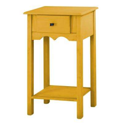 Jay 35.43 in. Tall Yellow Wash End Table with 1-Full Extension Drawer