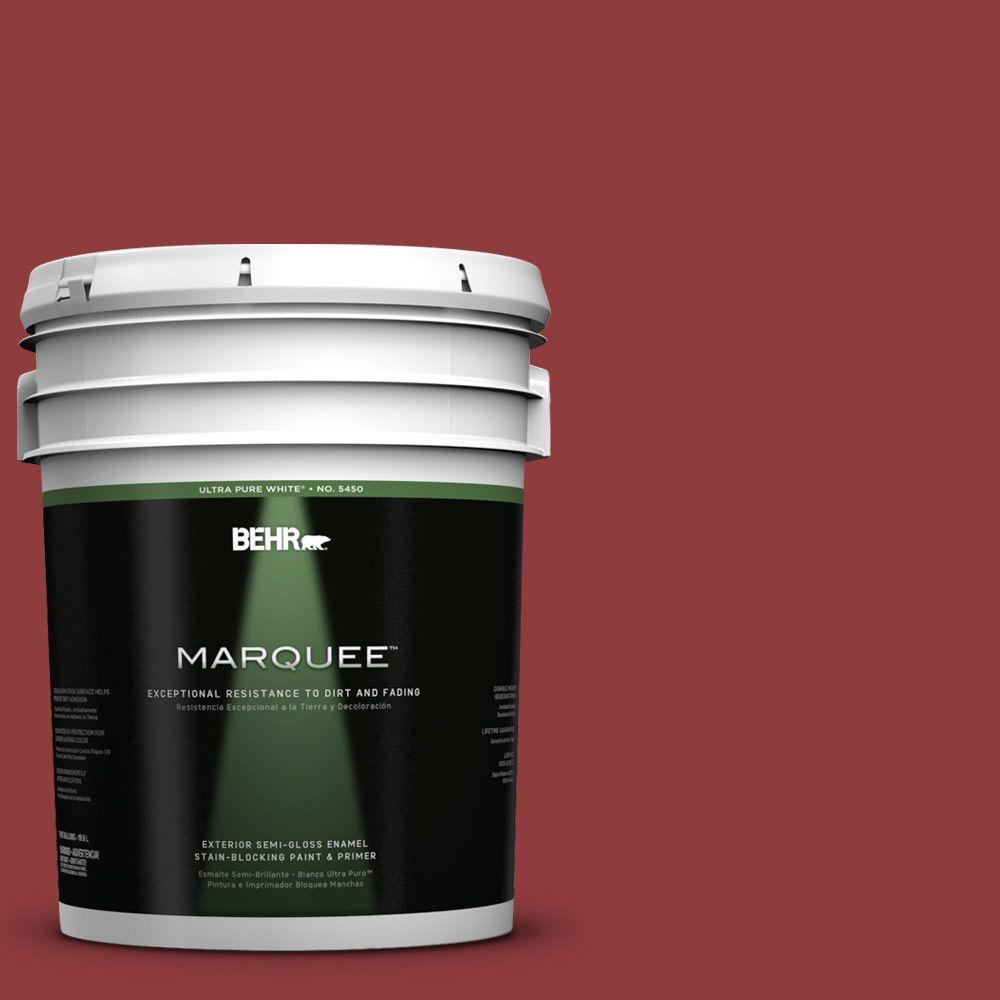 BEHR MARQUEE 5-gal. #160D-7 Cranberry Whip Semi-Gloss Enamel Exterior Paint