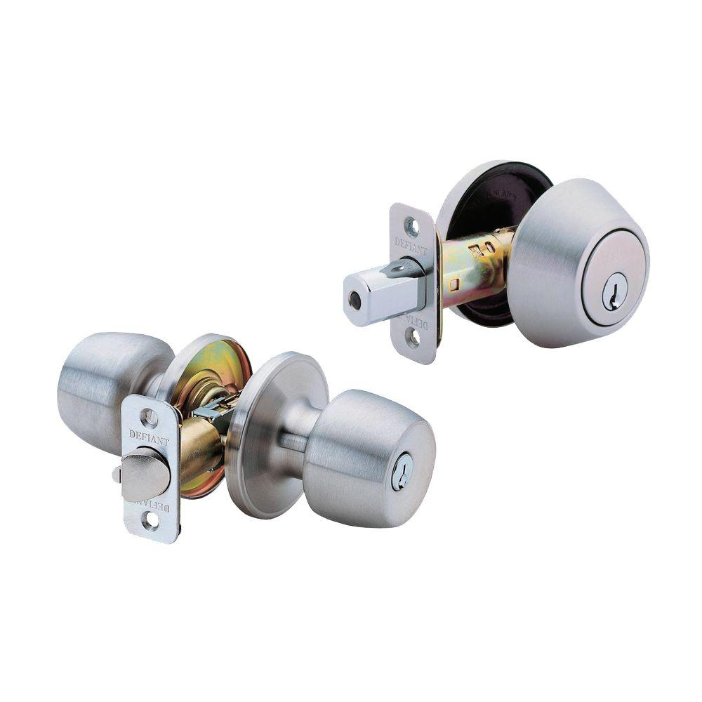 Defiant Brandywine Stainless Steel Entry Knob And Single