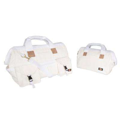 12 in. Soft Sided Construction Work Tool Bag Combo Pack in White (2-Pack)