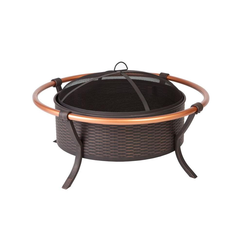 Hampton Bay Copper Rail 37 in. Round Steel Fire Pit in Brushed Bronze