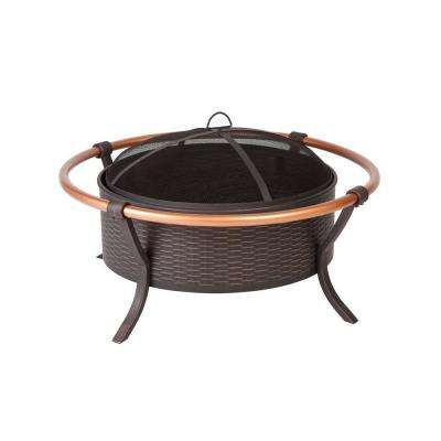 Copper Rail 37 in. Round Steel Fire Pit in Brushed Bronze