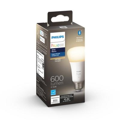 White A19 LED 50-Watt Equivalent Dimmable Wireless Smart Light Bulb with Bluetooth
