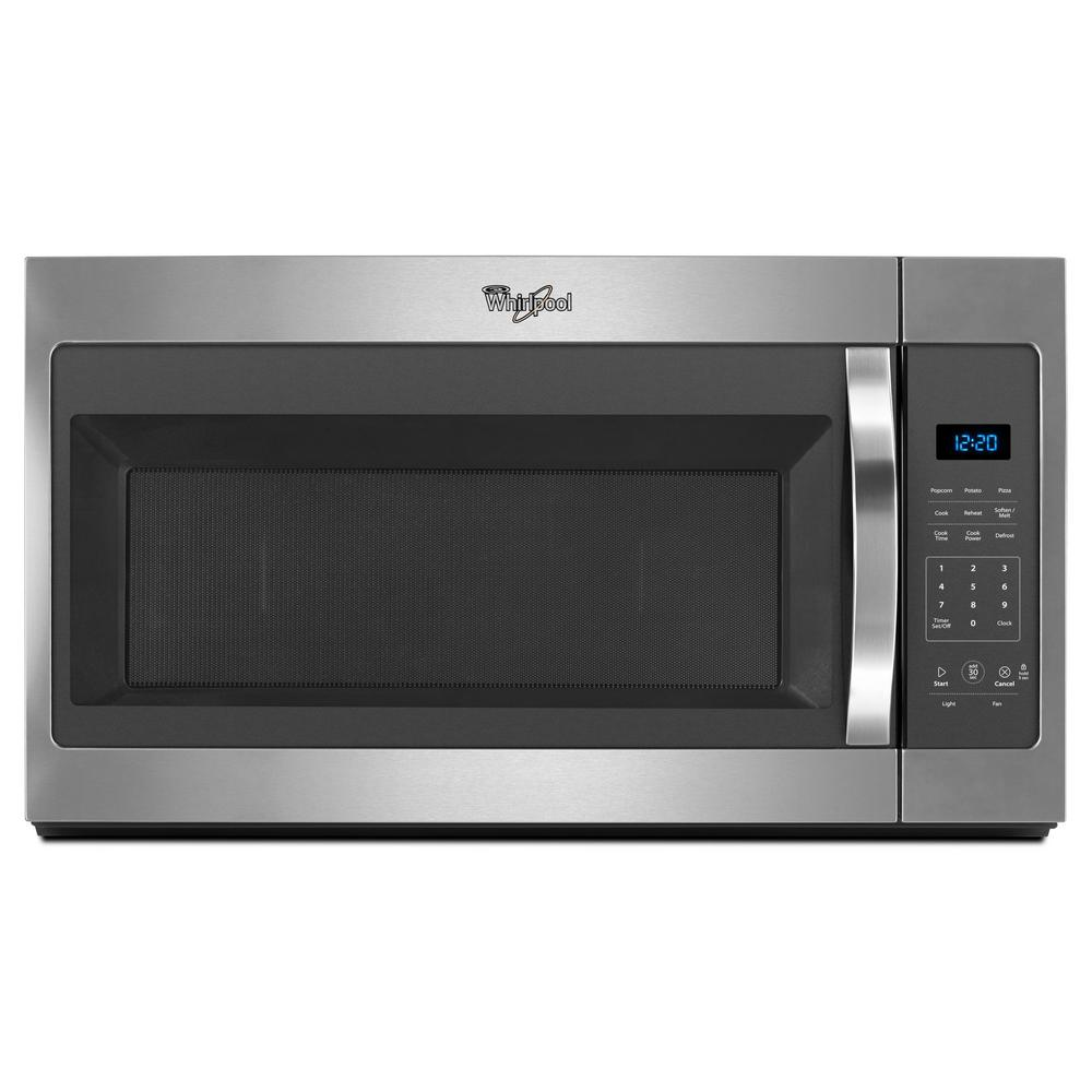 Whirlpool 1 7 Cu Ft Over The Range Microwave In Stainless Steel