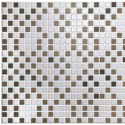 3D Falkirk Retro 10/1000 in. x 38 in. x 19 in. Off White Brown Grey Black Faux Distressed Squares PVC Wall Panel