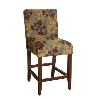 Upholstered 24 in. Brown and Tan Bar Stool