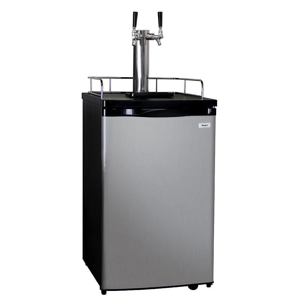 Kegco Full Size Keg Beer Dispenser with Double Tap, Black...