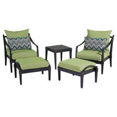 Astoria 5 Piece Patio Chat Set With Ginkgo Green Cushions