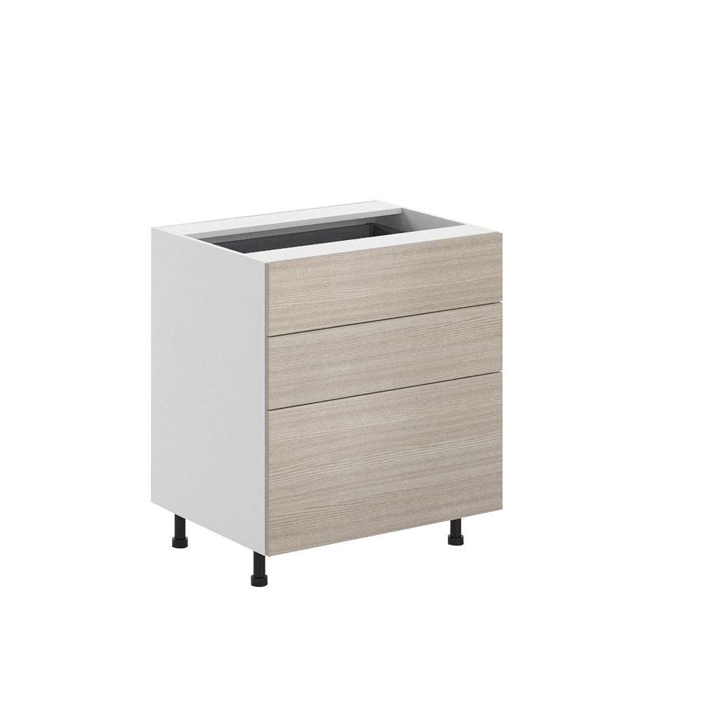 Ready to Assemble 30x34.5x24.5 in. Geneva 3-Drawer Base Cabinet in White