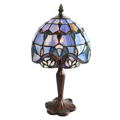 14 in. Blue Indoor Table Lamp with Stained Glass Allistar Shade