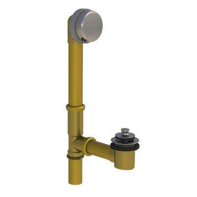 598 Series 24 in. Tubular Brass Bath Waste with Push Pull Bathtub Stopper, Brushed Nickel