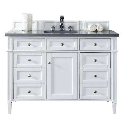 Brittany 48 in. W Single Vanity in Cottage White with Quartz Vanity Top in Gray with White Basin