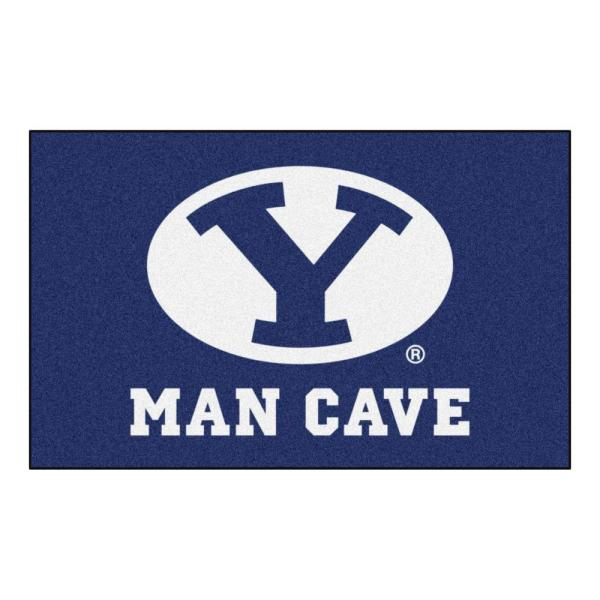 NCAA Brigham Young University Navy Man Cave 5 ft. x 8 ft. Area Rug