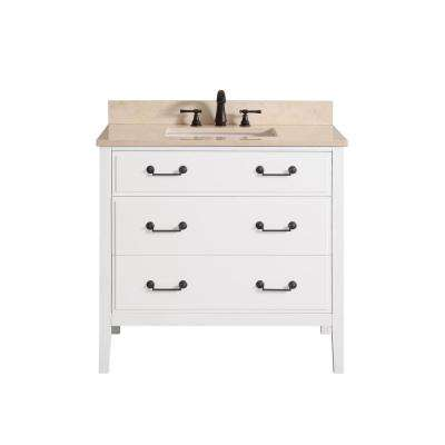 Delano 37 in. W x 22 in. D x 35 in. H Vanity in White with Marble Vanity Top in Galala Beige with White Basin