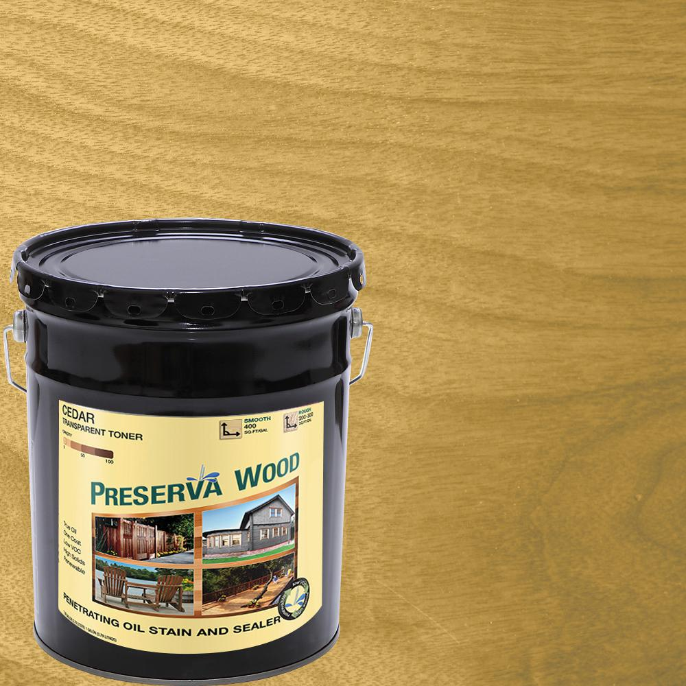 Preserva Wood 5 Gal. Oil-Based Cedar Penetrating Exterior Stain and Sealer