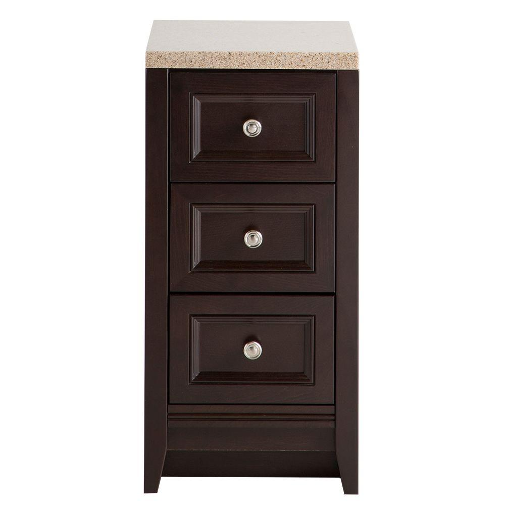 Glacier Bay Delridge 14 in. W x 30 in. H Bathroom Vanity in Chocolate with Solid Surface Vanity Top in Caramel
