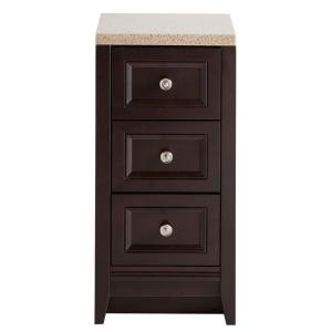 Glacier Bay Delridge 14.13 inch W x 17.38 inch D Drawer Base in Chocolate with Solid Surface Vanity Top in Caramel by Glacier Bay