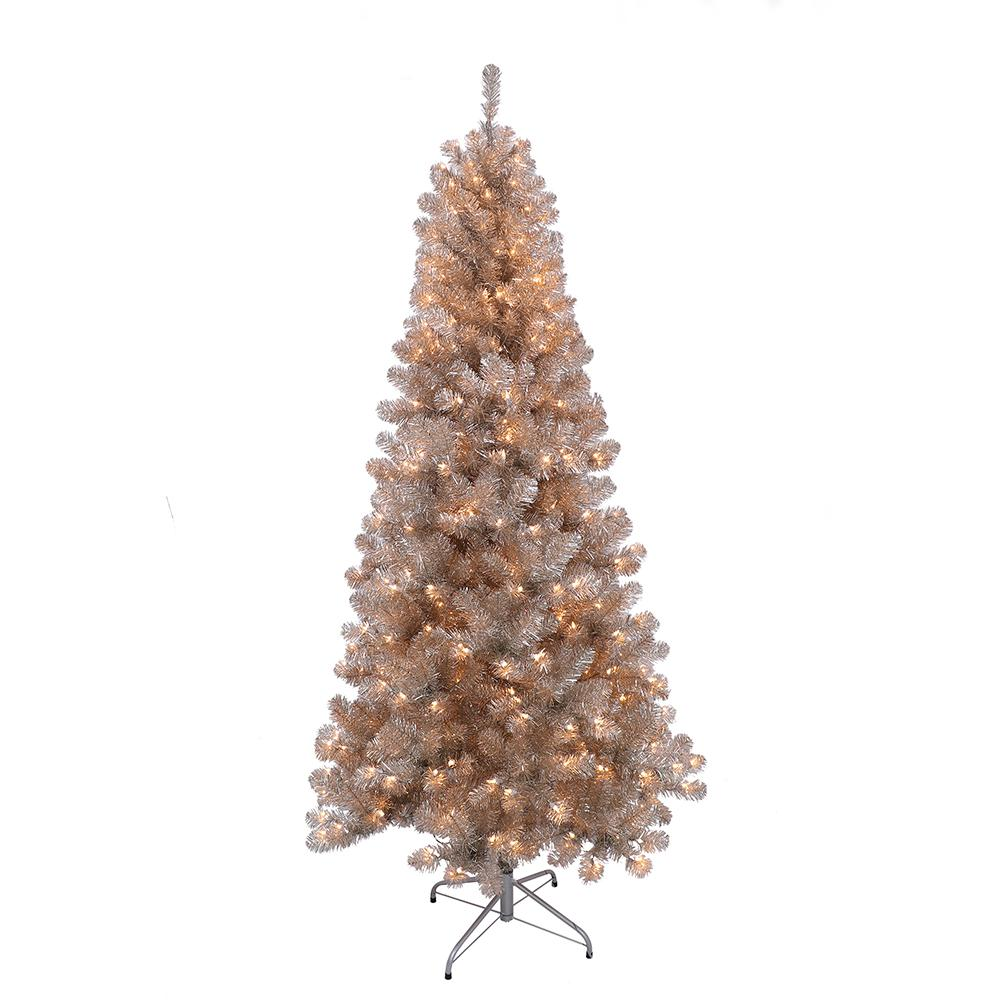 Puleo International 6.5 ft. Pre-Lit Rose Gold Tinsel ...