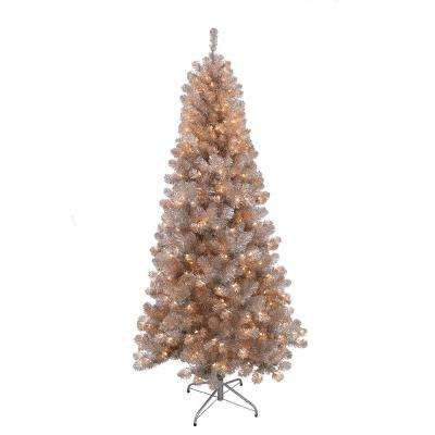 6.5 ft. Pre-Lit Rose Gold Tinsel Artificial Christmas Tree with 400 UL- Listed Lights