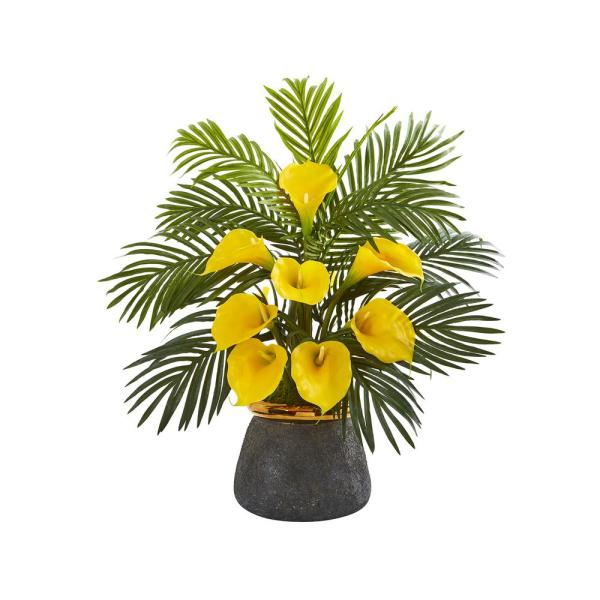 25 in. Calla Lilly and Areca Palm Artificial Arrangement in Stoneware Vase