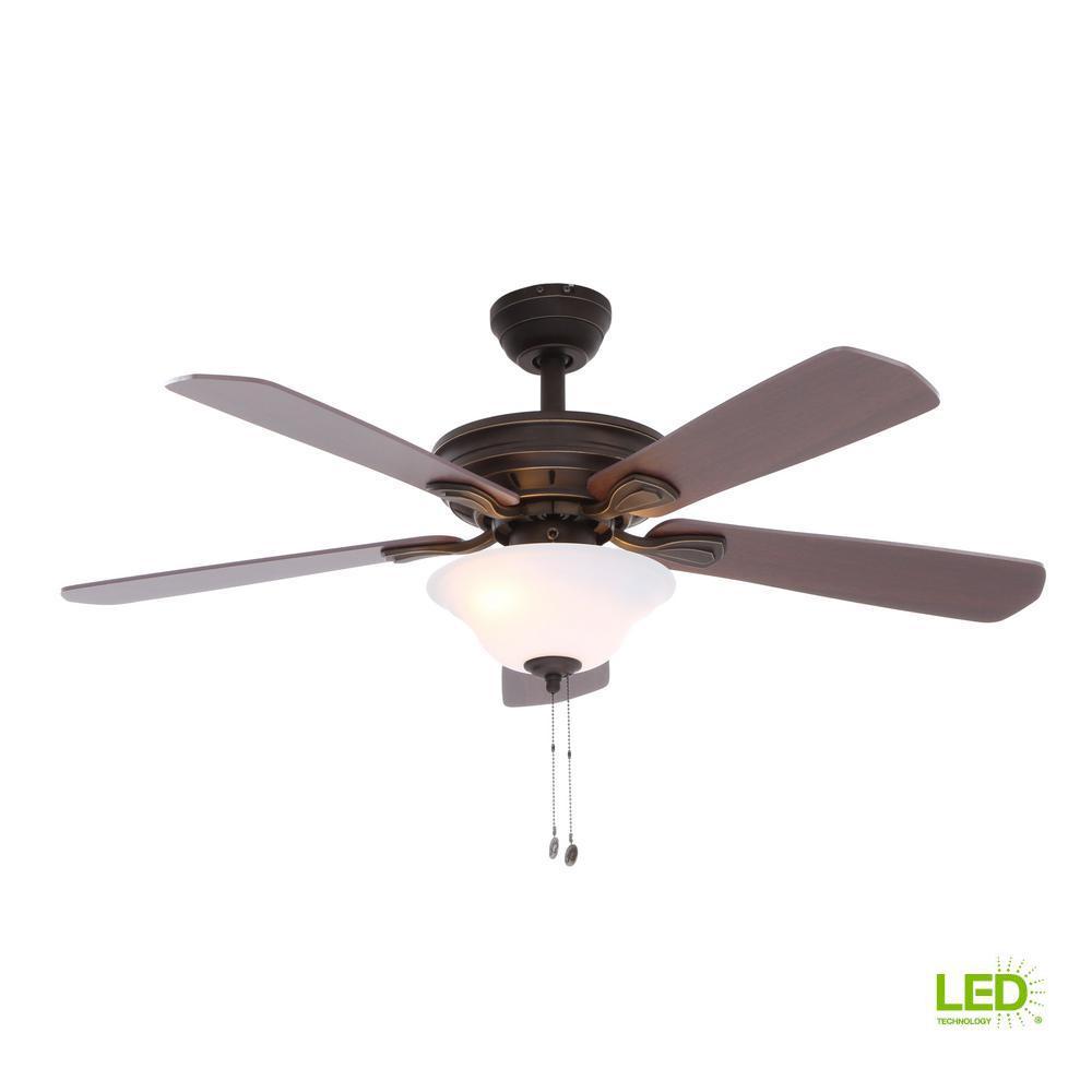 Hampton Bay Wellston 44 in. LED Indoor Oil Rubbed Bronze Ceiling Fan on