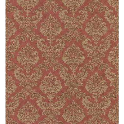 Textured Weaves Red Damask Wallpaper Sample