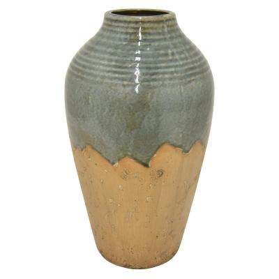 18 in. Green Ceramic Vase