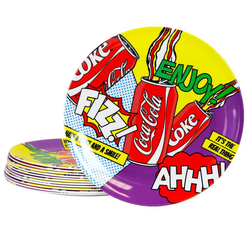 Coca-Cola Pop Art Multi-Color Break Resistant Dinner Plate (Set of 12)