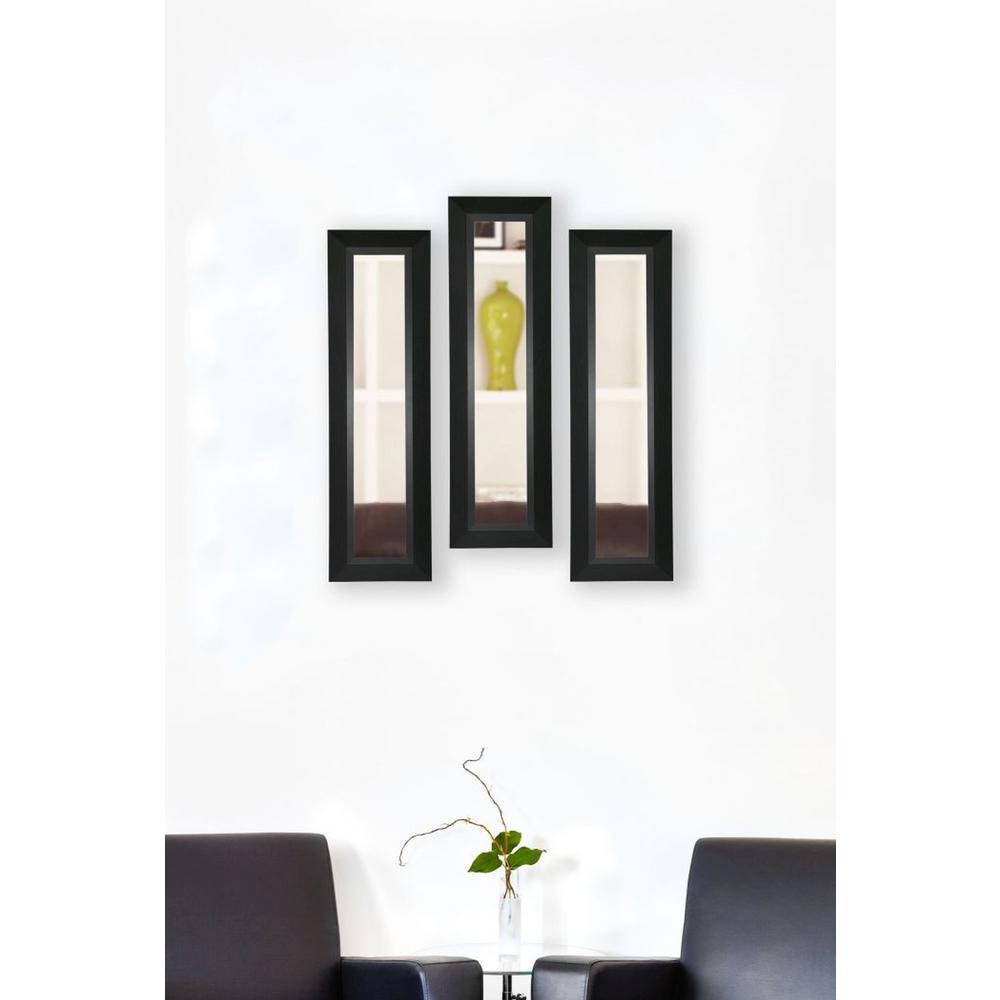11 inch x 29 inch Attractive Matte Black Vanity Mirror (Set of 3-Panels) by